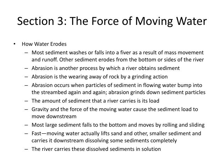 Section 3 the force of moving water1