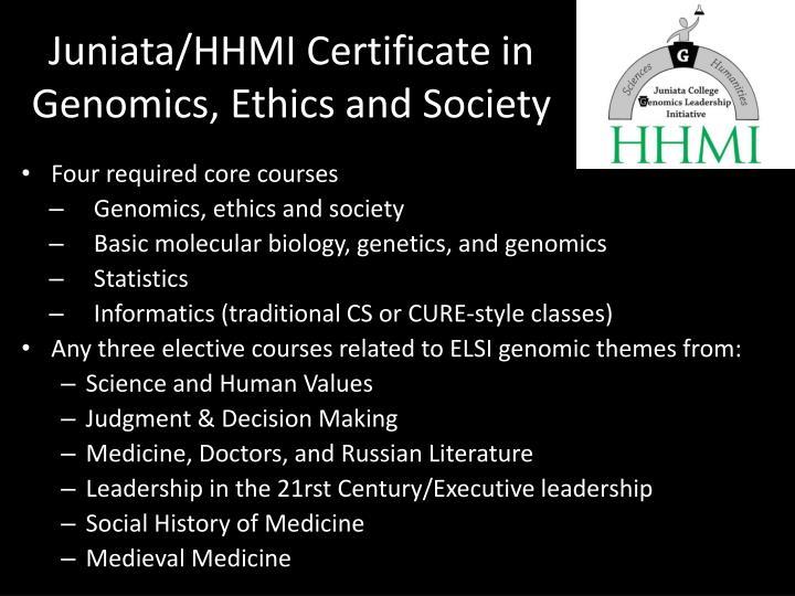 Juniata/HHMI Certificate