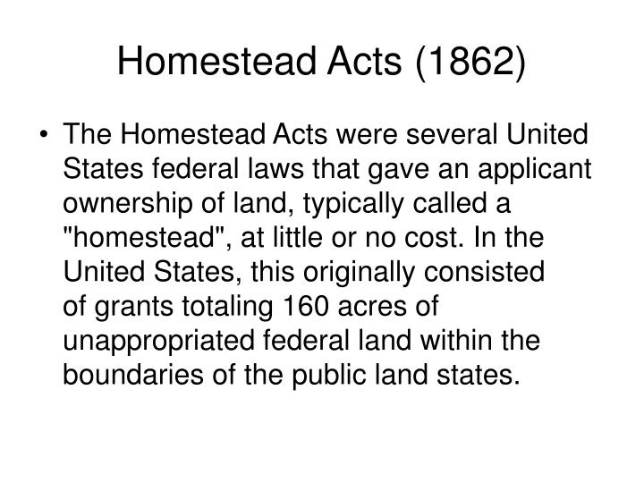 Homestead Acts (1862)
