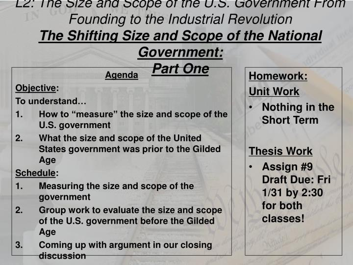 L2: The Size and Scope of the U.S. Government From Founding to the Industrial Revolution