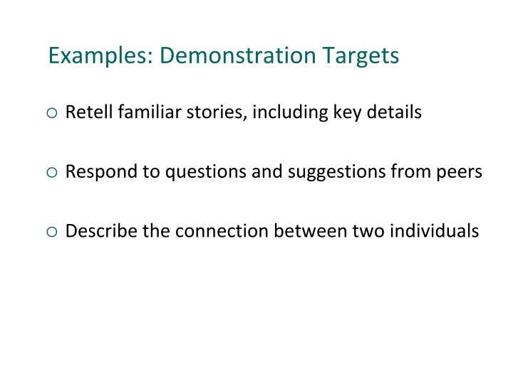 Examples: Demonstration Targets