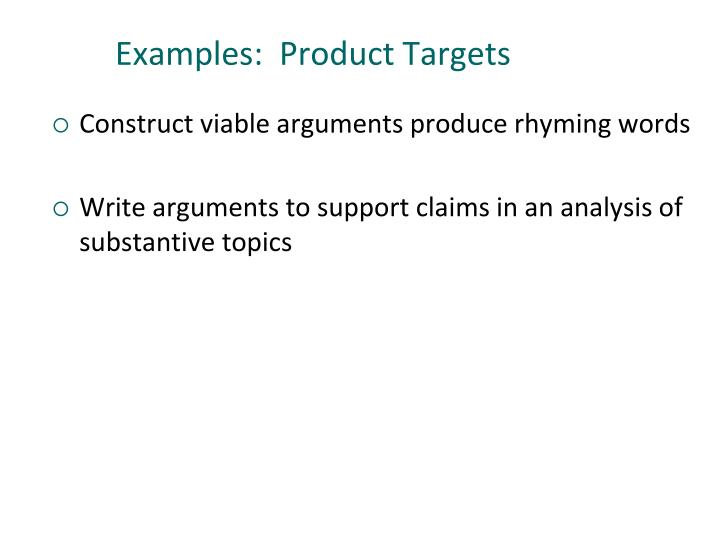 Examples:  Product Targets