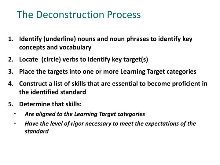 The Deconstruction Process