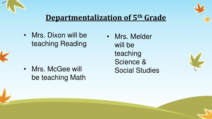 Departmentalization of 5