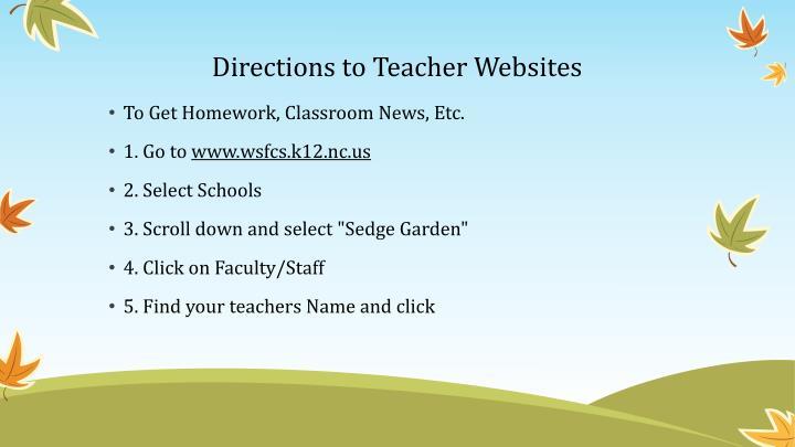 Directions to Teacher Websites