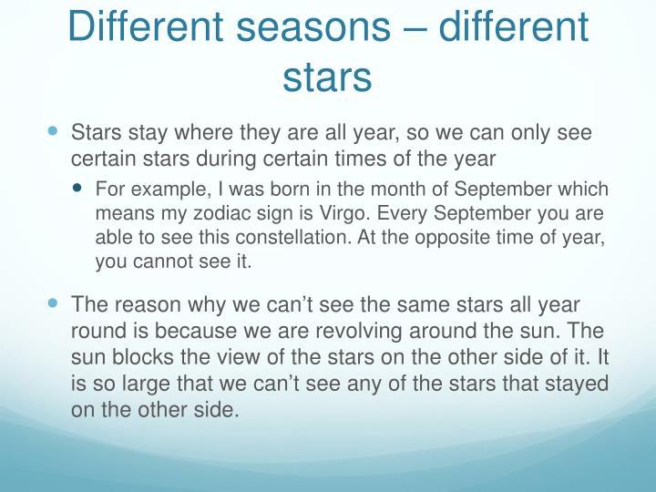 Different seasons – different stars