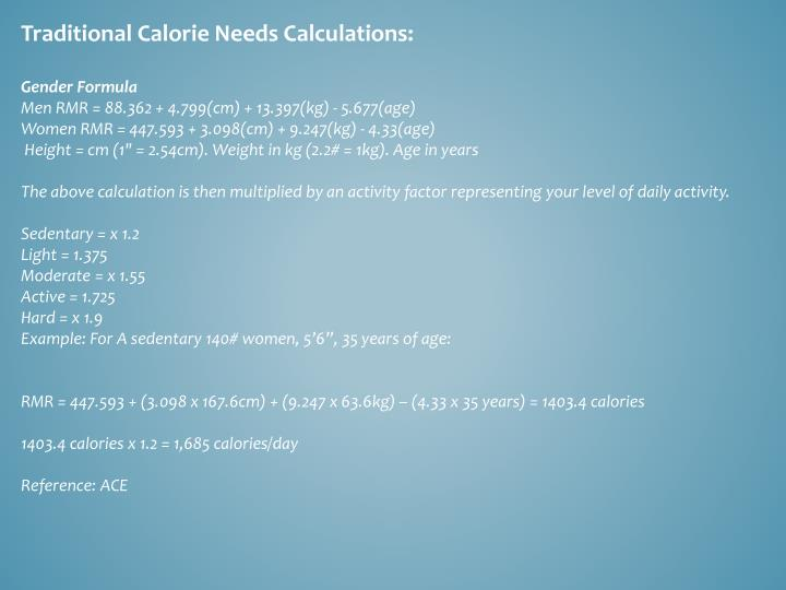 Traditional Calorie Needs Calculations: