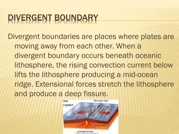 Divergent boundaries are places where plates are moving away from each other. When a divergent boundary occurs beneath oceanic lithosphere, the rising convection current below lifts the lithosphere producing a mid-ocean ridge. Extensional forces stretch the lithosphere and produce a deep fissure.