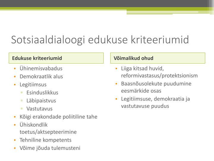 Sotsiaaldialoogi edukuse kriteeriumid