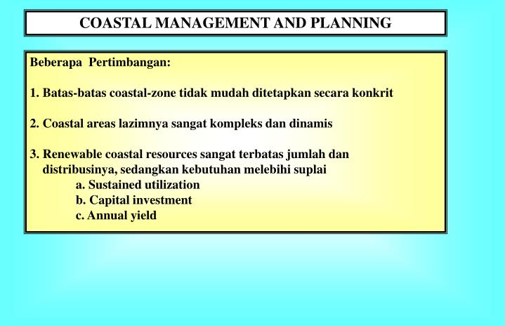 COASTAL MANAGEMENT AND PLANNING