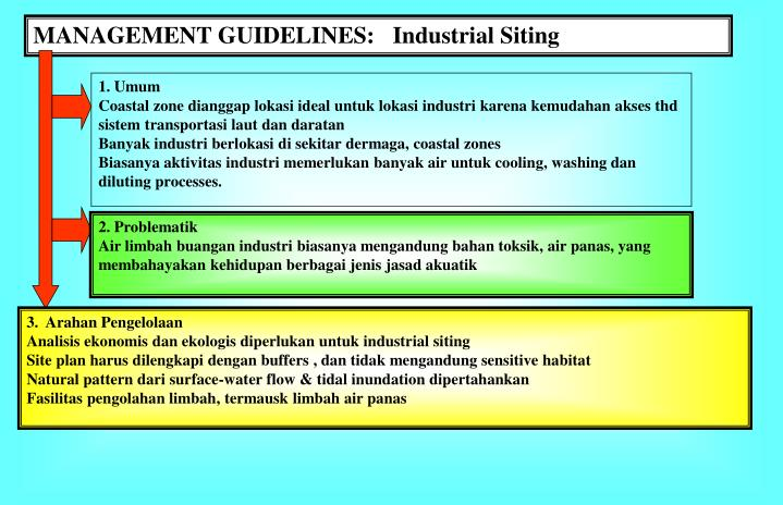 MANAGEMENT GUIDELINES:   Industrial Siting