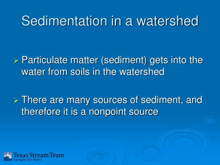 Sedimentation in a watershed