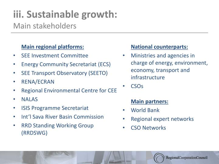 iii. Sustainable growth: