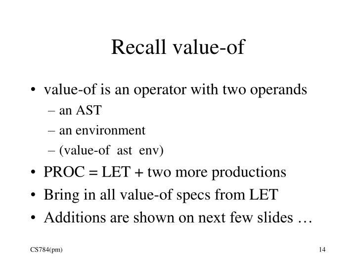 Recall value-of