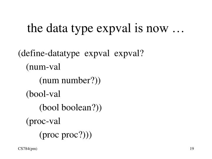 the data type