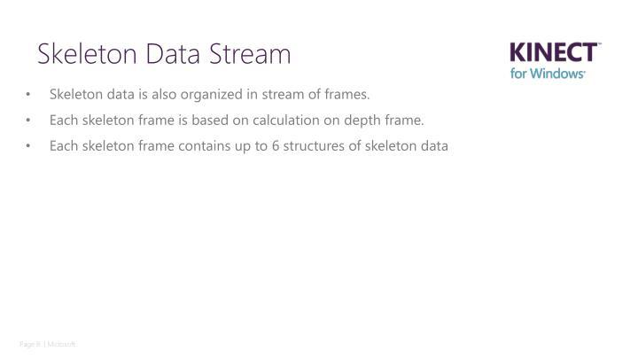 Skeleton data is also organized in stream of frames.