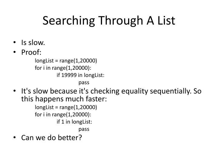 Searching Through A List