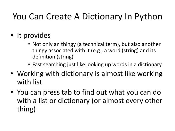 You Can Create A Dictionary In Python