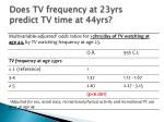 does tv frequency at 23yrs predict tv time at 44yrs