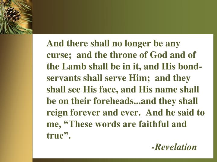 """And there shall no longer be any curse;  and the throne of God and of the Lamb shall be in it, and His bond-servants shall serve Him;  and they shall see His face, and His name shall be on their foreheads...and they shall reign forever and ever.  And he said to me, """"These words are faithful and true""""."""