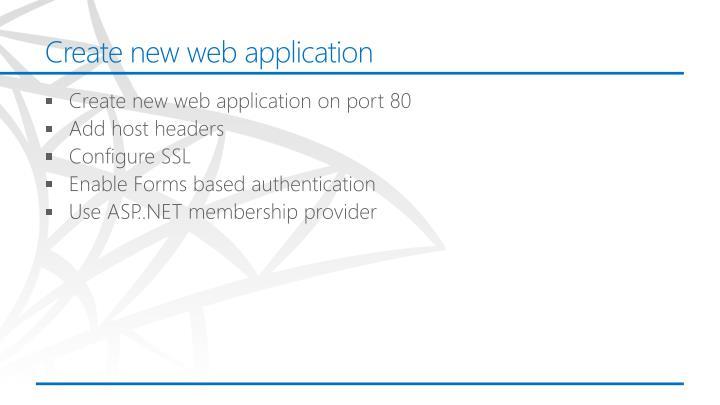 Create new web application