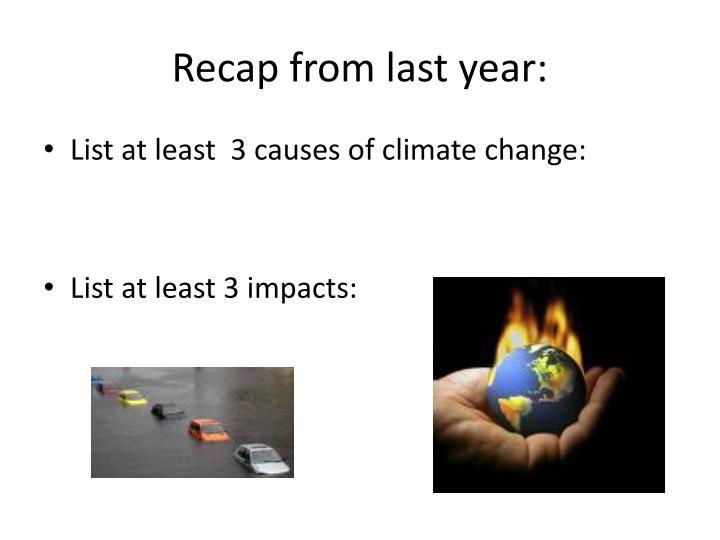 Recap from last year: