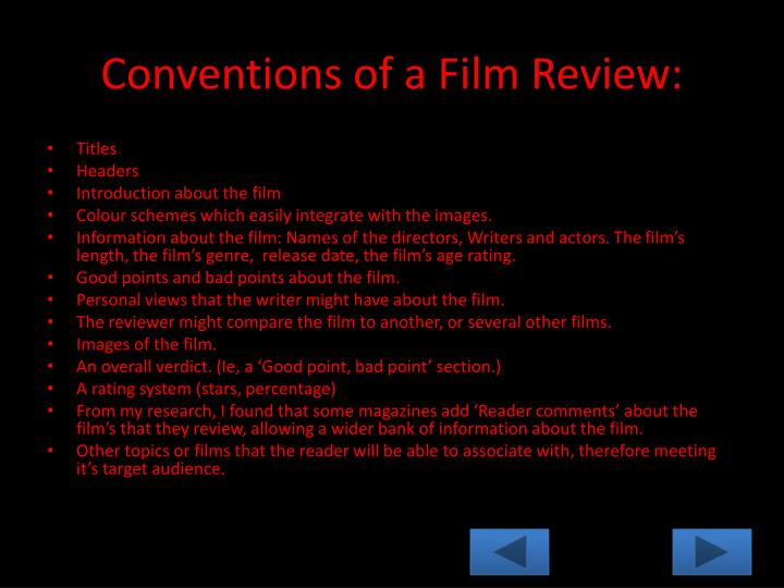 Conventions of a Film Review:
