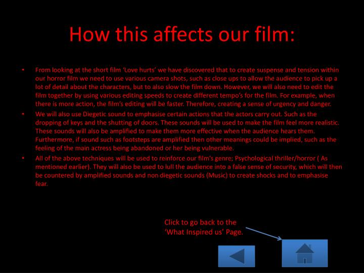 How this affects our film: