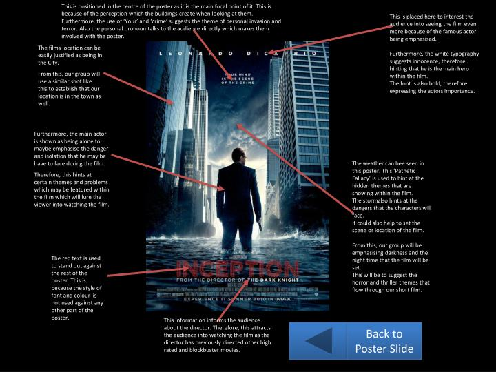 This is positioned in the centre of the poster as it is the main focal point of it. This is because of the perception which the buildings create when looking at them. Furthermore, the use of 'Your' and 'crime' suggests the theme of personal invasion and terror. Also the personal pronoun talks to the audience directly which makes them involved with the poster.