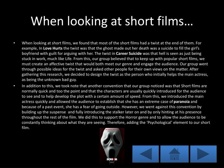 When looking at short films…