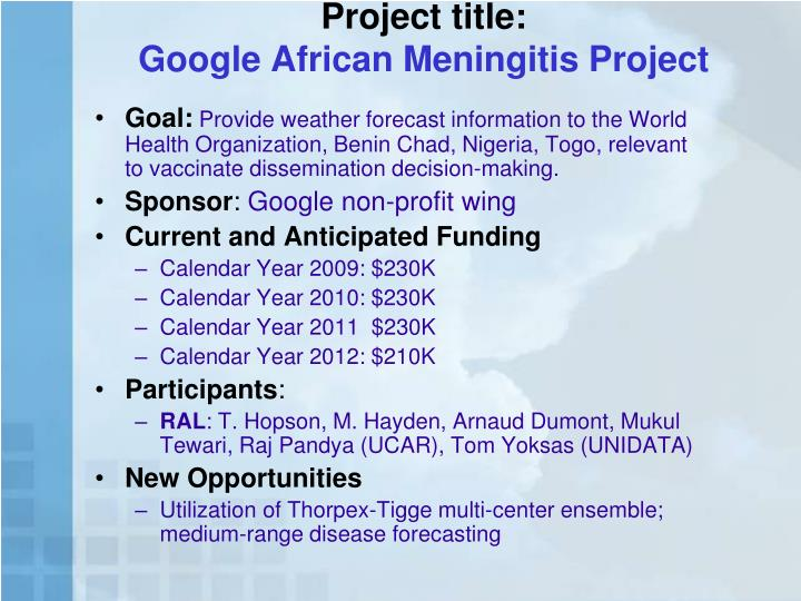 Project title google african meningitis project
