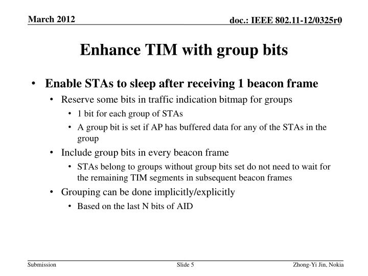 Enhance TIM with group bits