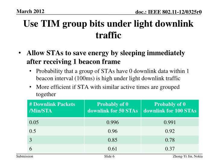 Use TIM group bits under light downlink traffic