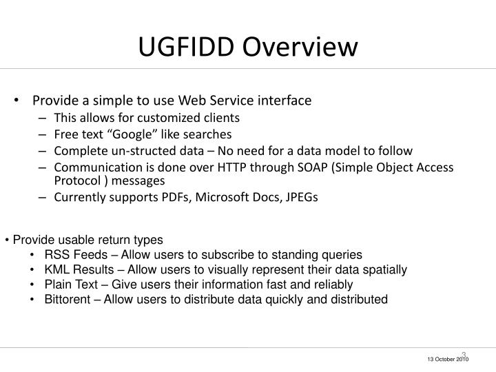 Ugfidd overview