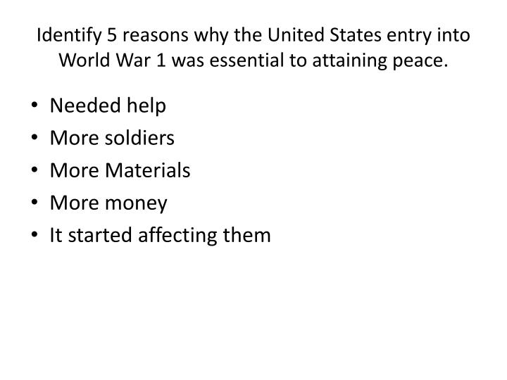 Identify 5 reasons why the United States entry into World War 1 was essential to attaining peace.
