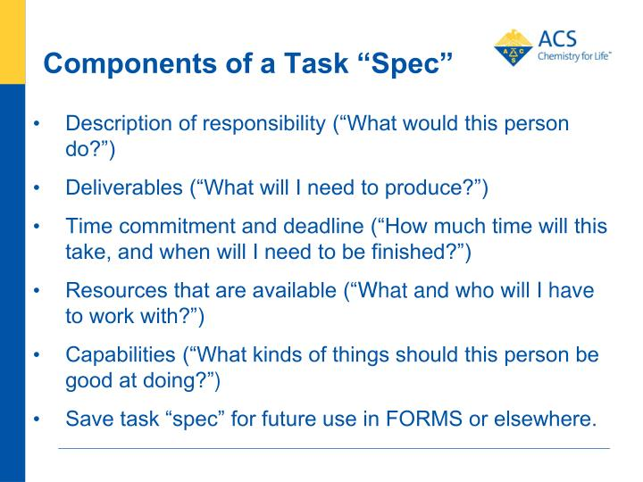 """Components of a Task """"Spec"""""""