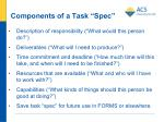components of a task spec