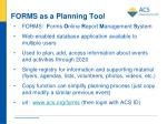 forms as a planning tool