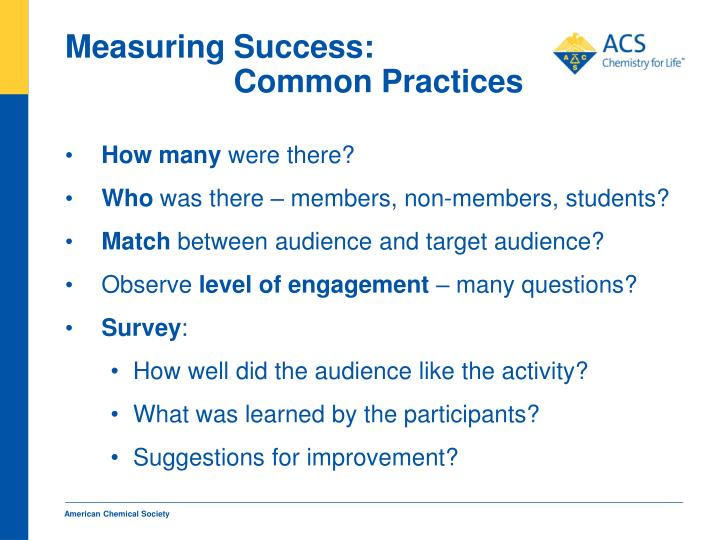 Measuring Success: