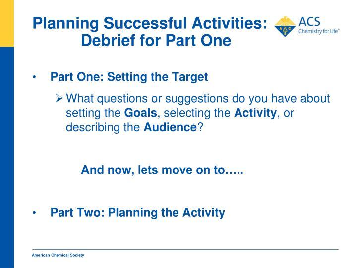 Planning Successful Activities: