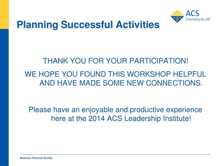 Planning Successful Activities