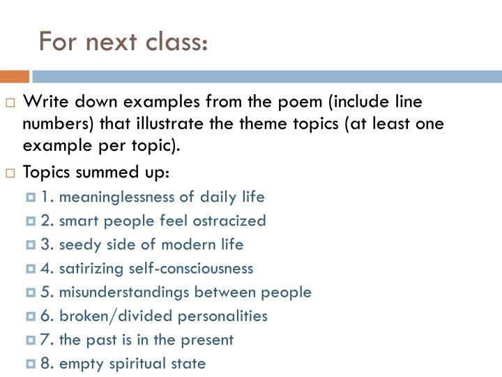 For next class: