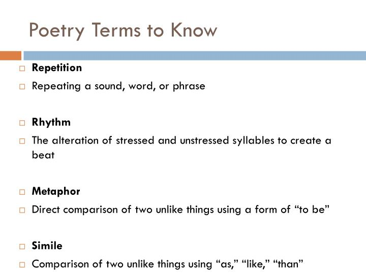 Poetry Terms to Know