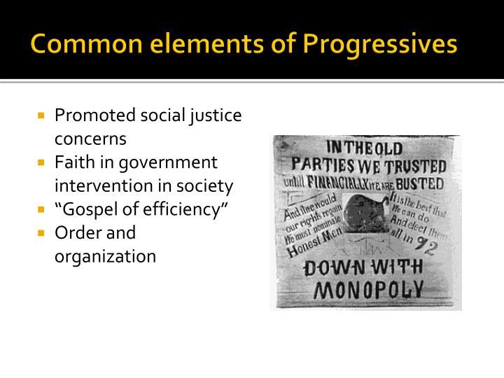 Common elements of Progressives