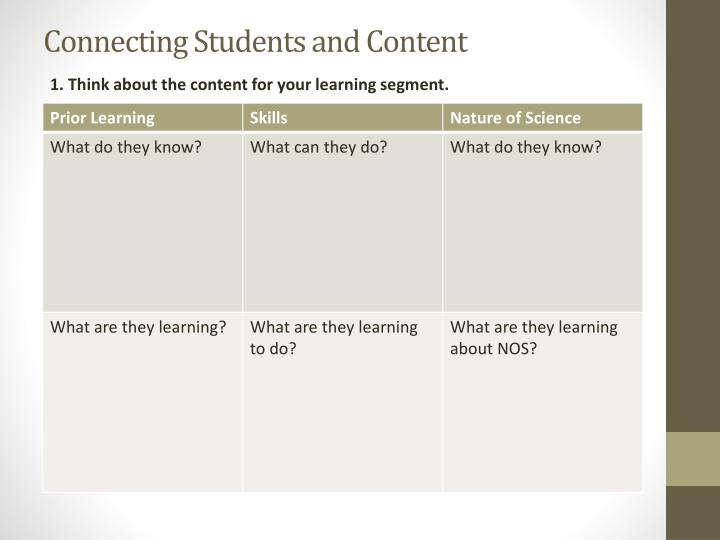 Connecting Students and Content