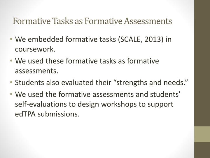 Formative Tasks as Formative Assessments