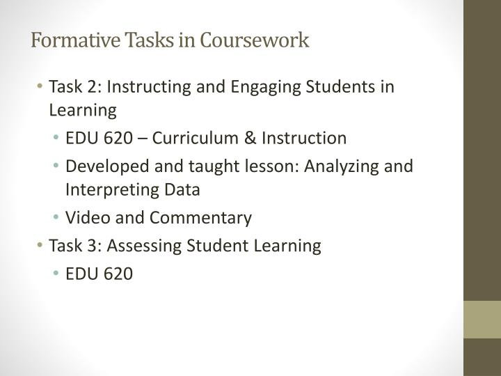 Formative Tasks in Coursework