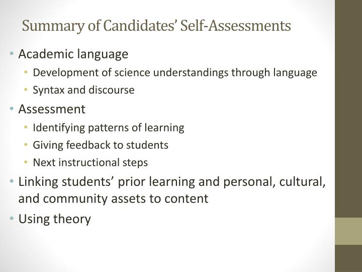 Summary of Candidates' Self-Assessments