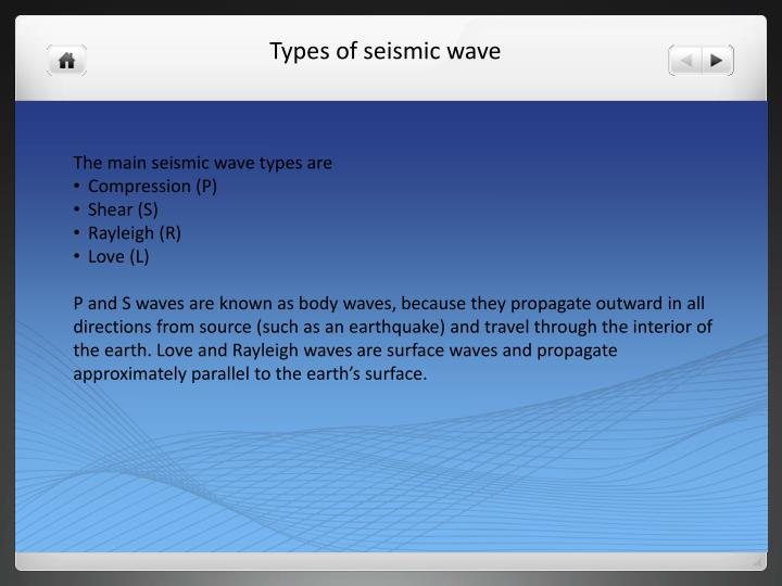 The main seismic wave types