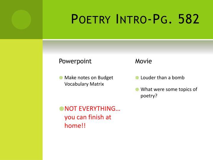 Poetry Intro-Pg. 582